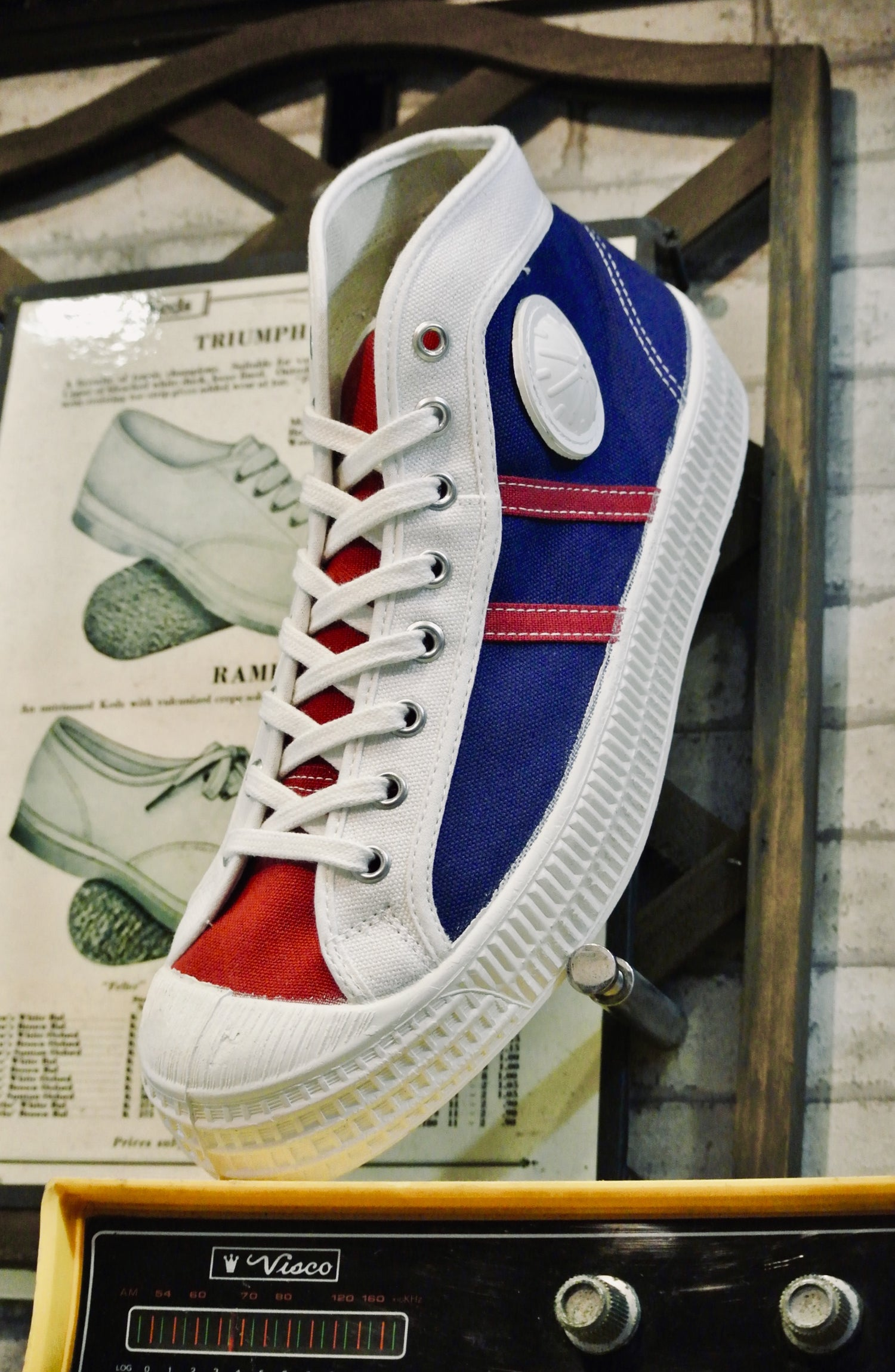 Image of Vegancraft mid top sneaker shoes made in Slovakia tricolour