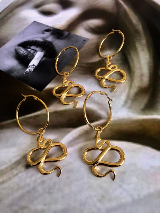 Image of GOLD SNAKE HOOP EARRINGS