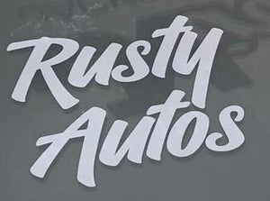 Image of Rusty Autos Stickers! (Oil Slick & White)