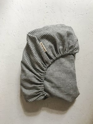 Image of linen striped fitted bedsheet
