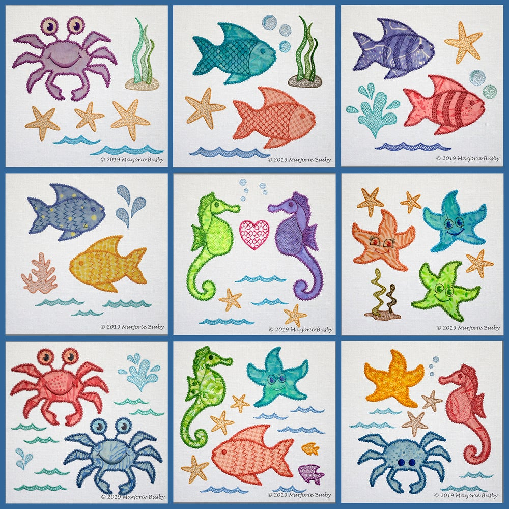 Image of AccuQuilt GO! Sea Life Medley Machine Embroidery Applique
