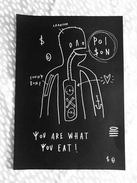 Image of 'You Are What You Eat' Original Drawing (White on Black Version)