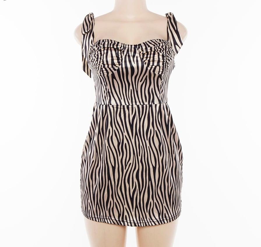 Image of GLAMOURFOXX LUXE Champagne Zebra print silk dress