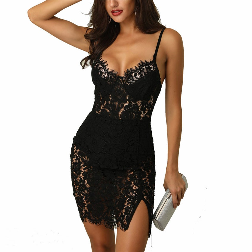 Image of Black lace wiggle dress