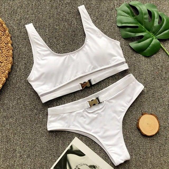 Image of White buckle bikini