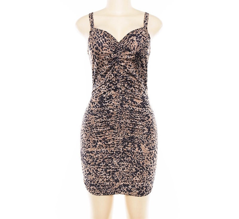Image of Animal print ruched dress