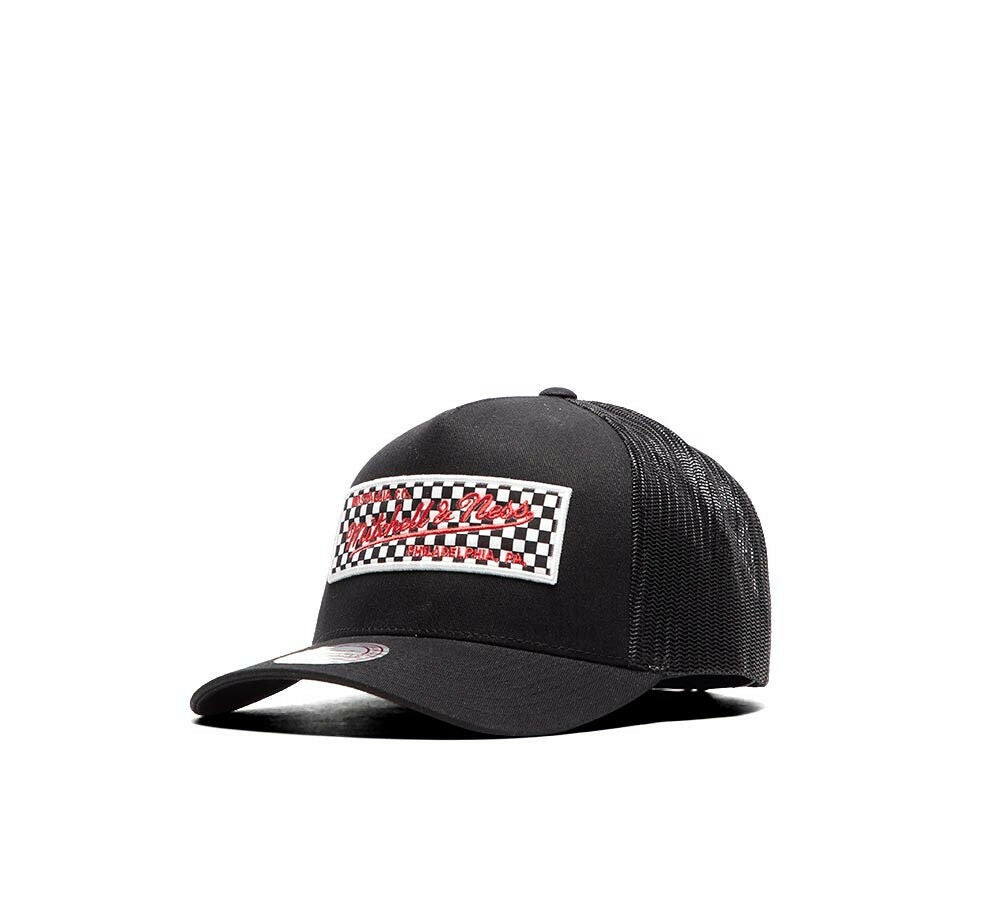 c7287522 Image of Mitchell & Ness Checkered Logo Trucker Cap - OSFM. On sale