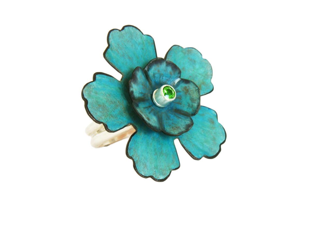 Image of Teal Flower Sterling Silver Ring