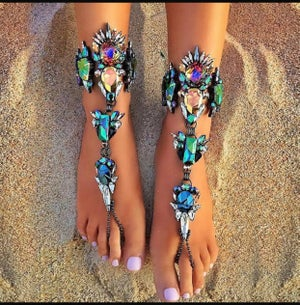 Image of Multi-color crystal anklet
