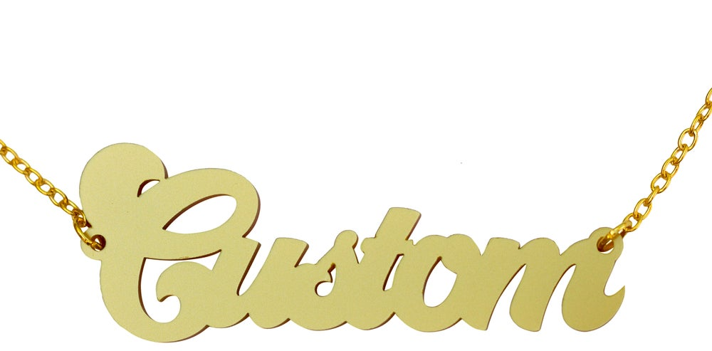 Image of Customised Word Name Necklace Disco Font