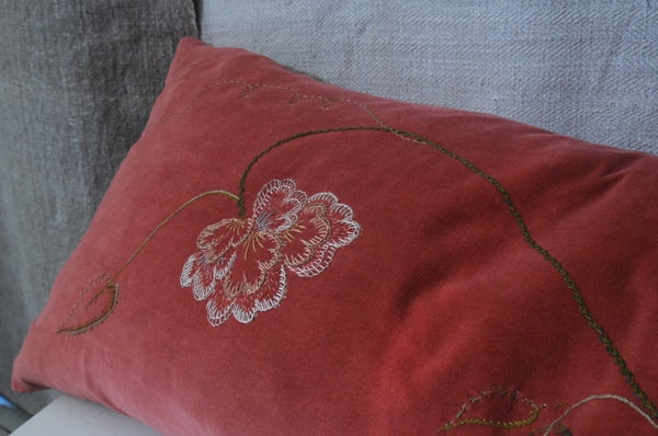 Image of HAND EMBROIDERED FLOWER BOLSTER