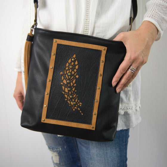 Image of Black Crossbody Hip Bag - Feather