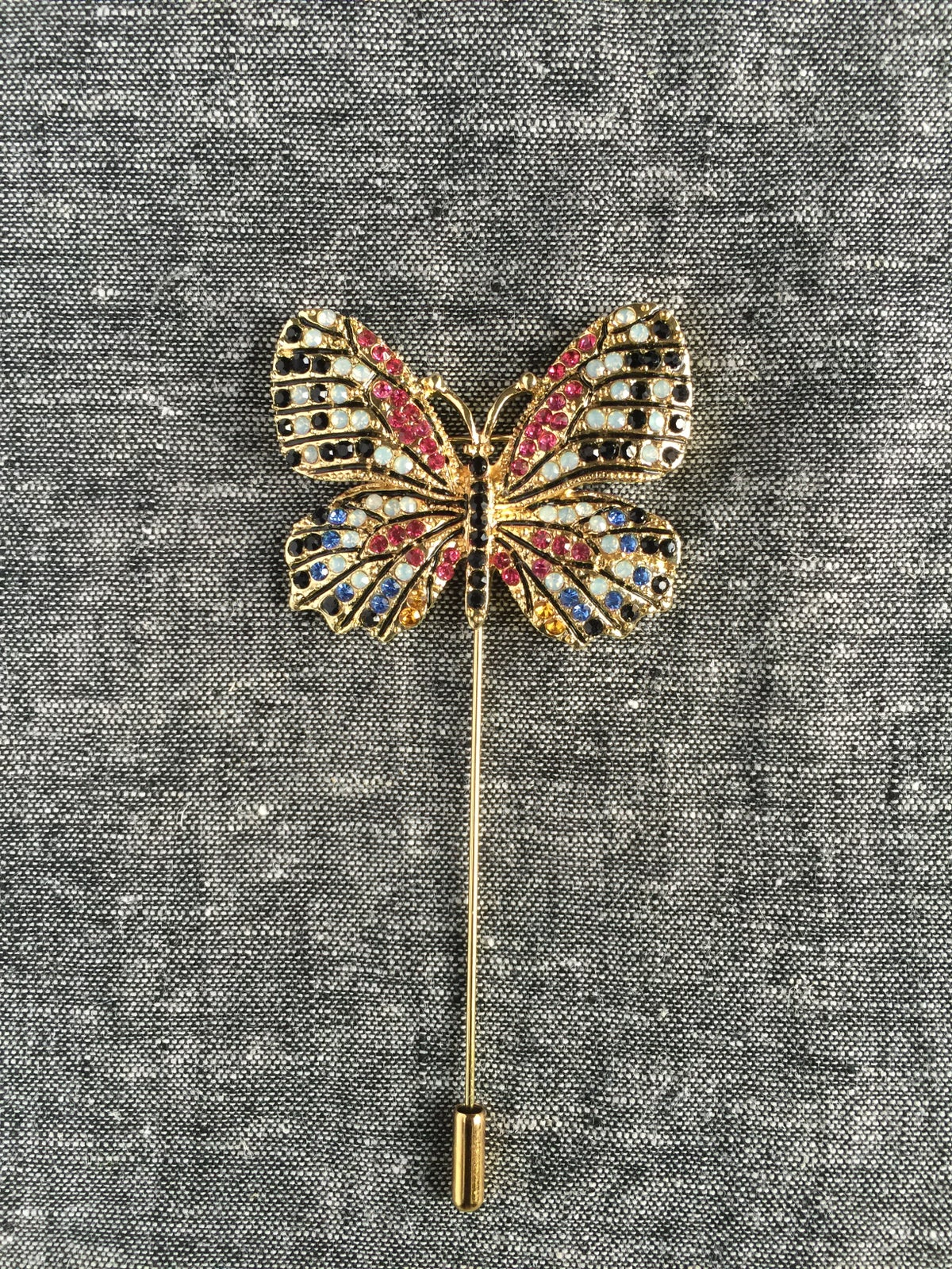 Image of Butterfly Lapel Pin (magenta, light blue, black and white)