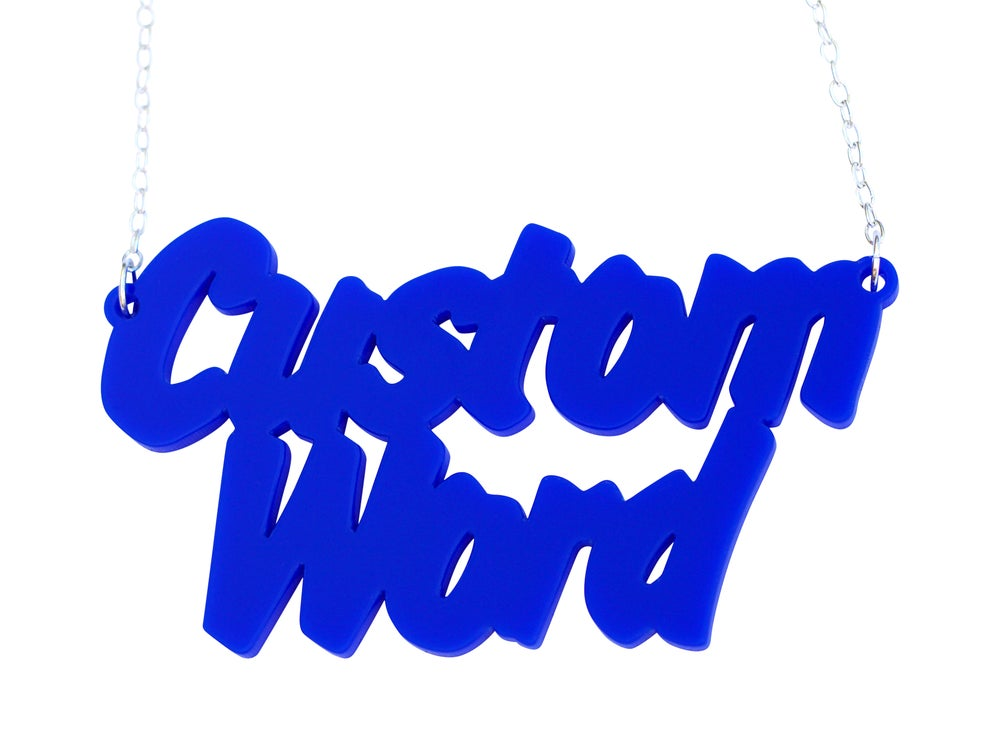 Image of Double Line Customised Word Name Necklace Art Attack Font