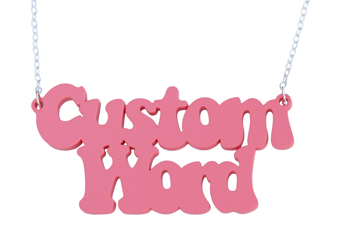 Image of Double Line Customised Word Name Necklace Coolaid Font