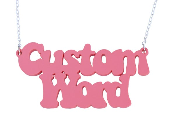 Double Line Customised Word Name Necklace Coolaid Font - Black Heart Creatives