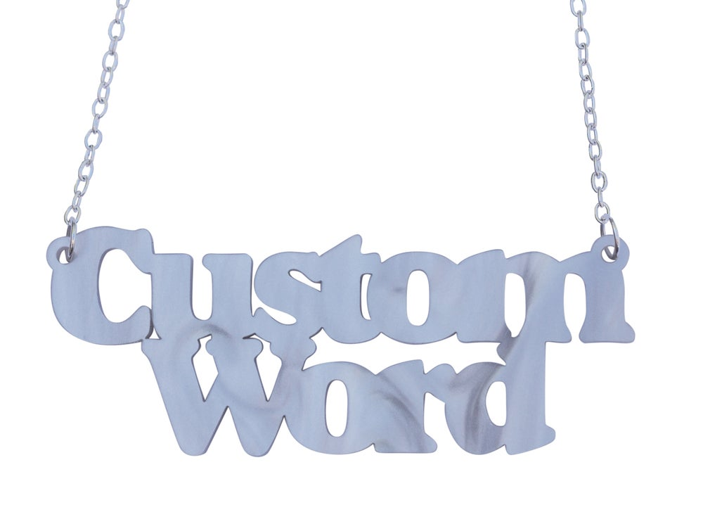 Image of Double Line Customised Word Name Necklace Sunshine Font