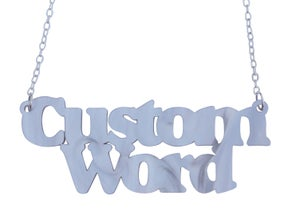 Double Line Customised Word Name Necklace Sunshine Font - Black Heart Creatives