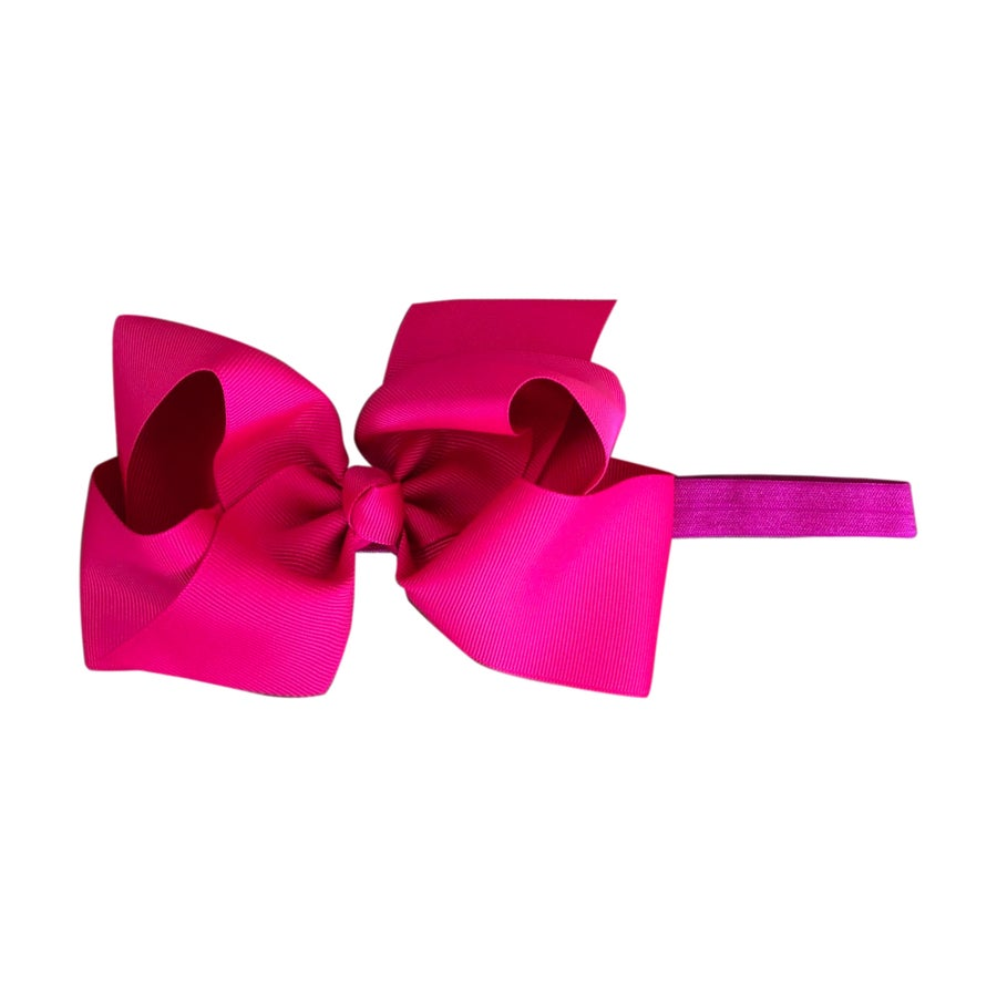 Image of Neon Pink Big Bow Baby Headband