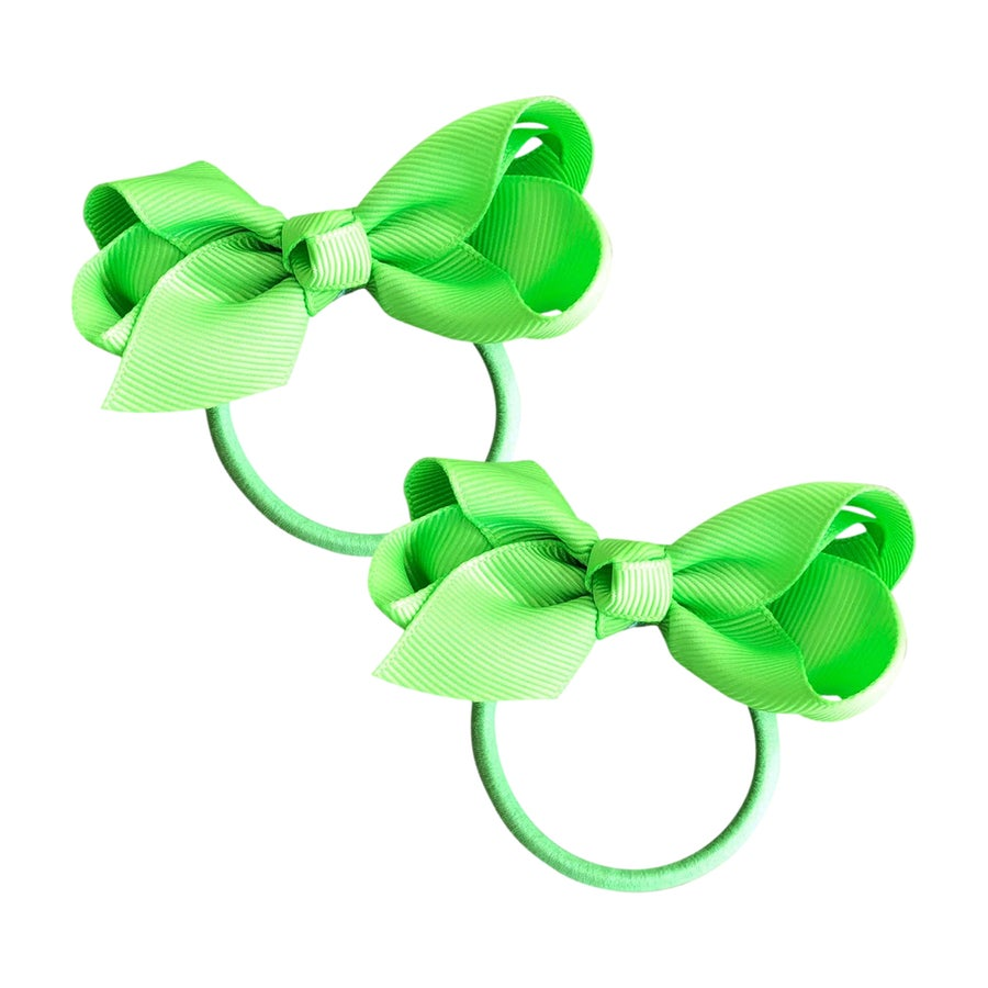 Image of Lime Green Bow Hair Tie 2 Pack