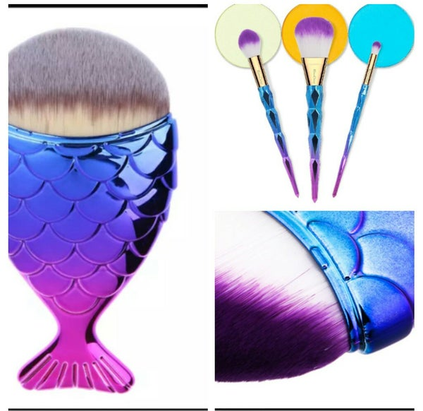 Image of Makeup Brushes (4pcs) with Mermaid Inspired Handle