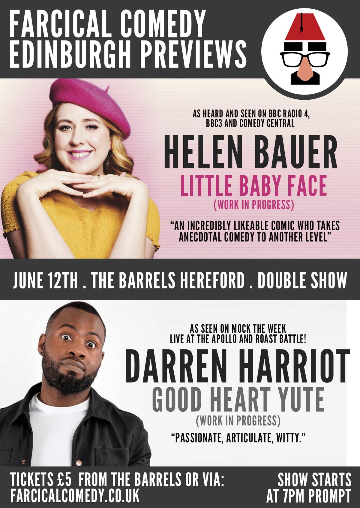 Image of 12/06 Edinburgh Preview Night : Helen Bauer & Darren Harriot