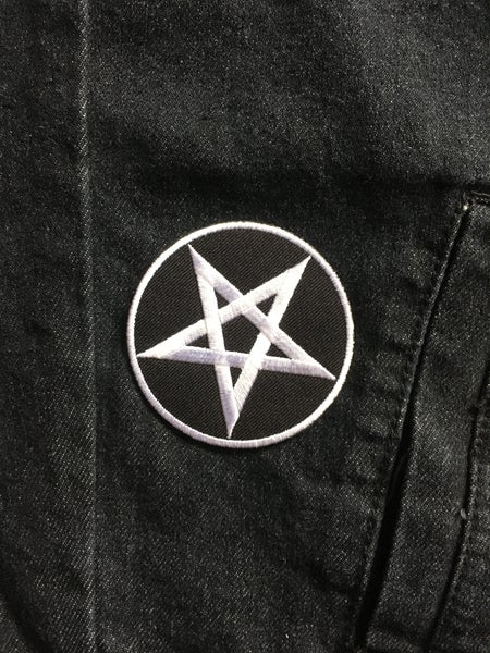 Image of White on Black Pentagram [Patch]