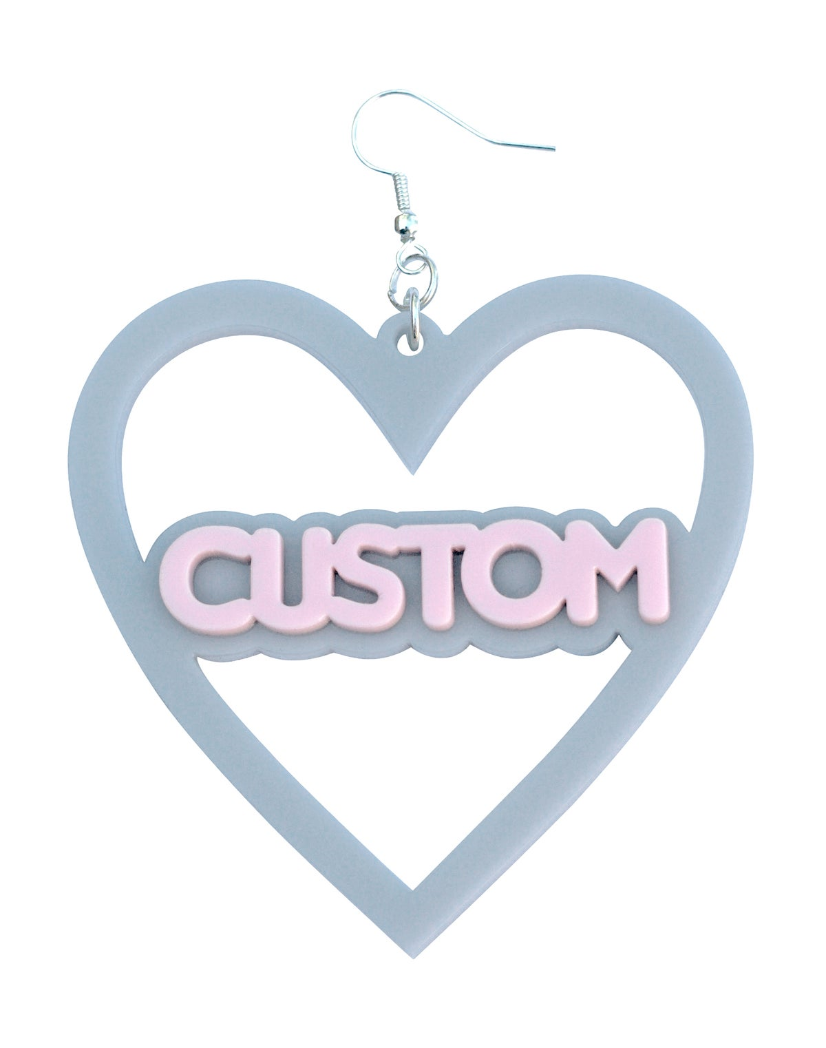 Image of Customised Double Stacked Heart Earring Macaroni Font