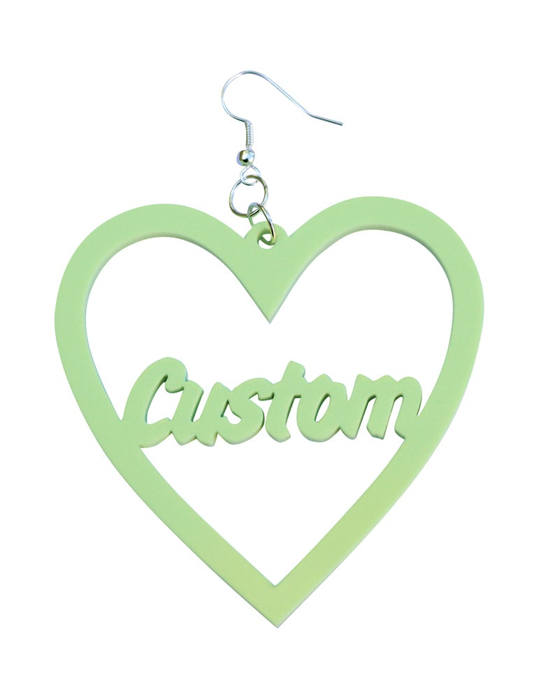 Image of Customised Word Heart Earrings Art Attack Font