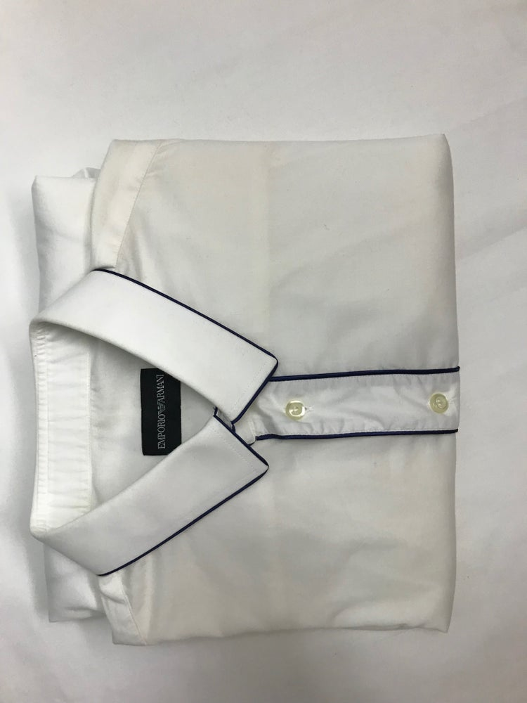 Image of Emporio Armani White Shirt w/ Navy Blue Piping