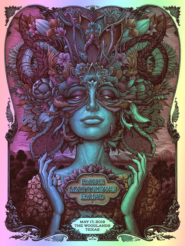 Image of Dave Matthews Band Woodlands Texas Gig Poster