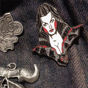 Image of Vampira glow in the dark pin