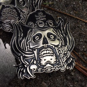 Image of Lemmy tribute Pin - Massive! Heavy! Metal!