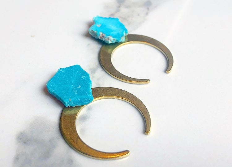 Image of thin brass moons + turquoise