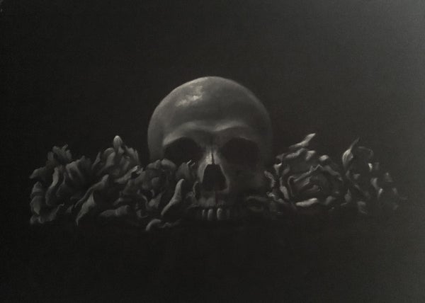 Image of Skull with Roses Study