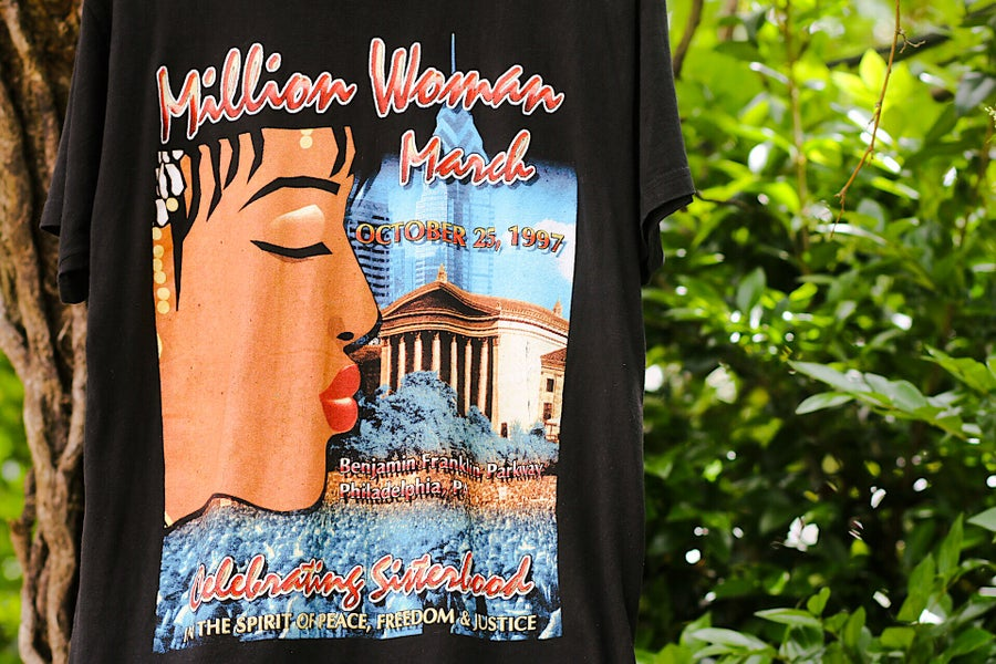"Image of 1997 Vintage Bay Club ""MILLION WOMAN MARCH"" Double-Sided Rap Tee"