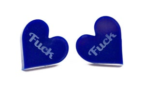 Fuck Heart Stud Earrings - Black Heart Creatives