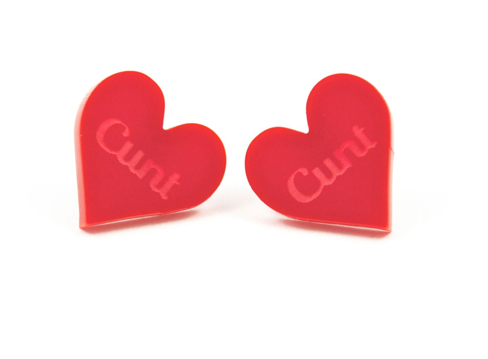 Image of Cunt Heart Stud Earrings