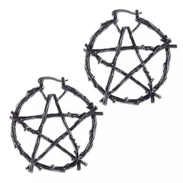Image of Number 5 Pentacle Hoop earrings