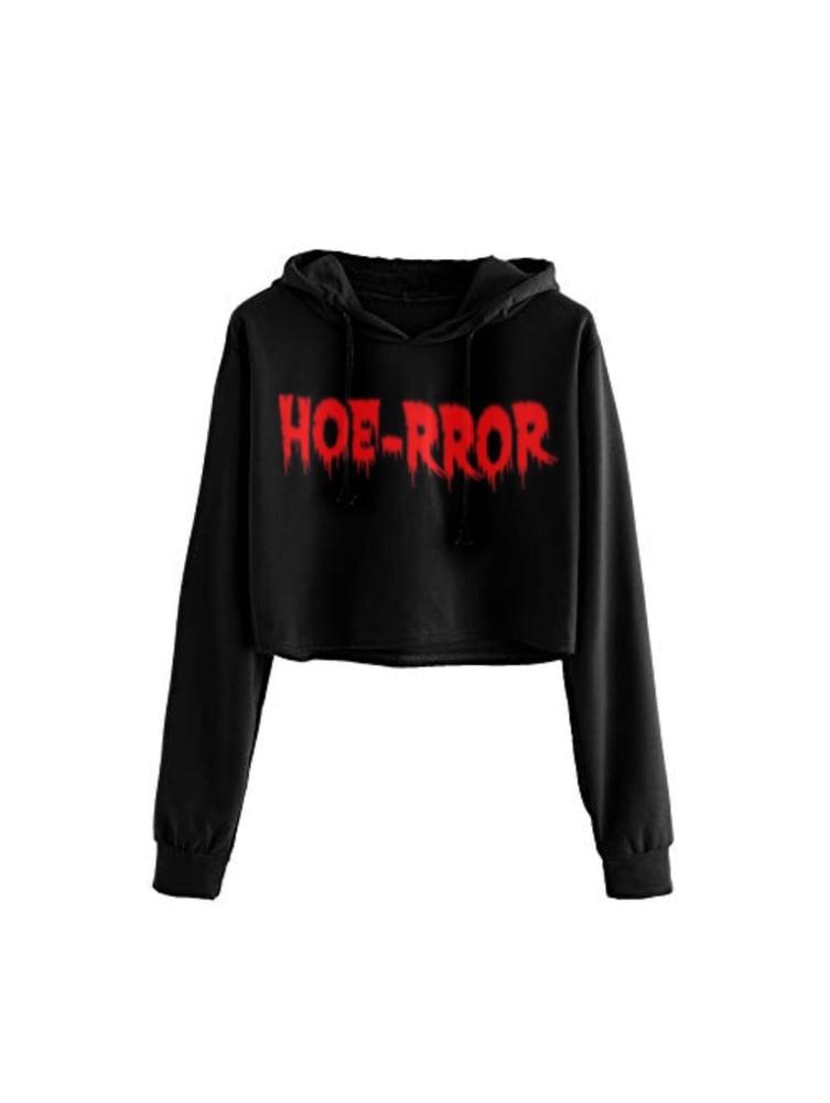 Image of Hoe-rror Cropped Hoodie