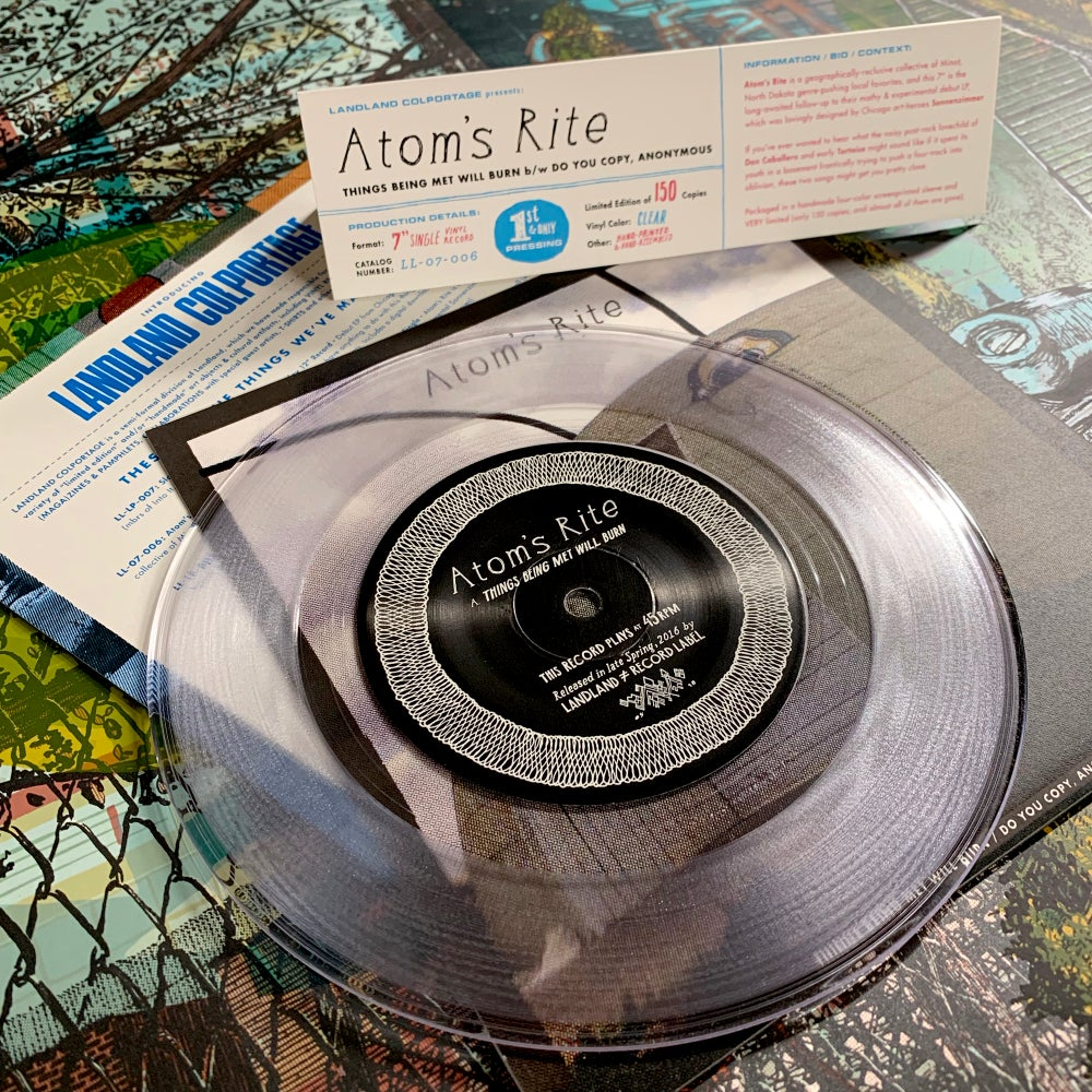 """Atom's Rite """"Things Being Met... b/w Do You Copy, Anonymous"""" 7"""" EP • Ltd. Edition Vinyl Record"""