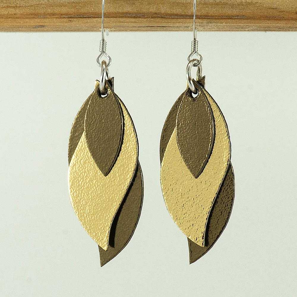 Image of Handmade Kangaroo leather leaf earrings - Bronze and gold [LMT-173]