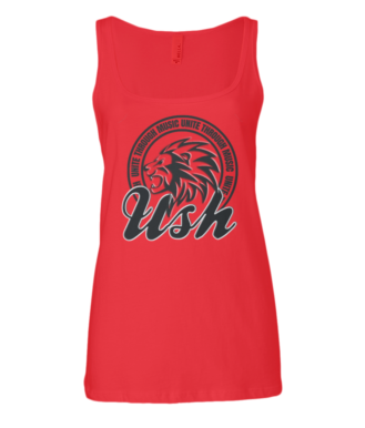 Image of USH LION WOMENS VEST - RUBY RED/BLACK LOGO