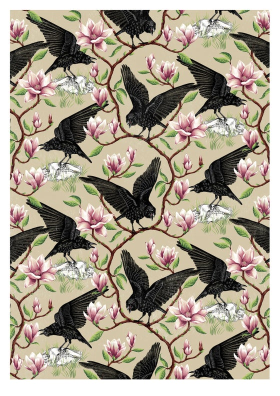 Image of A2 Crow and Magnolia print
