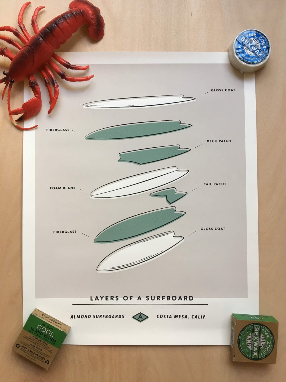 Image of Almond Surfboards 'layers of a surfboard' Print