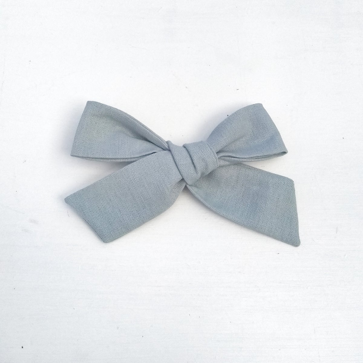 Image of Over Sized Hand Tied Hair Bow - Duck Egg Blue Linen