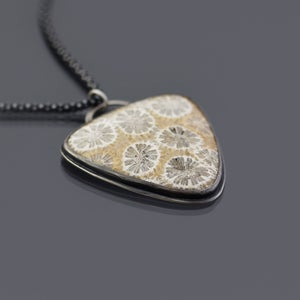 Image of Triangular Sterling Silver Fossilized Coral Necklace