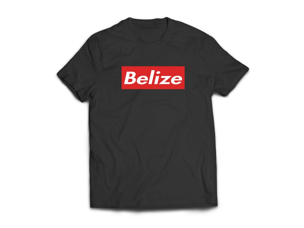 Image of BELIZE - T-SHIRT - BLACK/WHITE/RED BOX