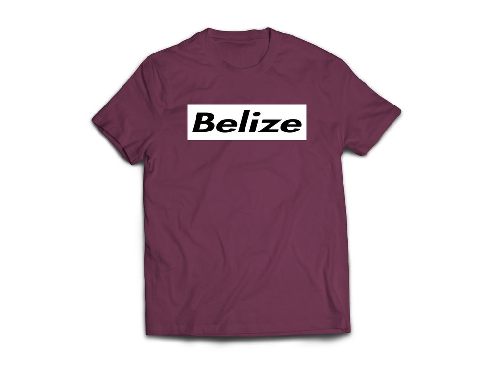 Image of BELIZE - T-SHIRT - BURGUNDY/BLACK/WHITE BOX