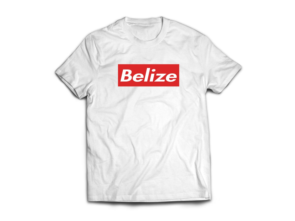 Image of BELIZE - T-SHIRT - WHITE/WHITE/RED BOX